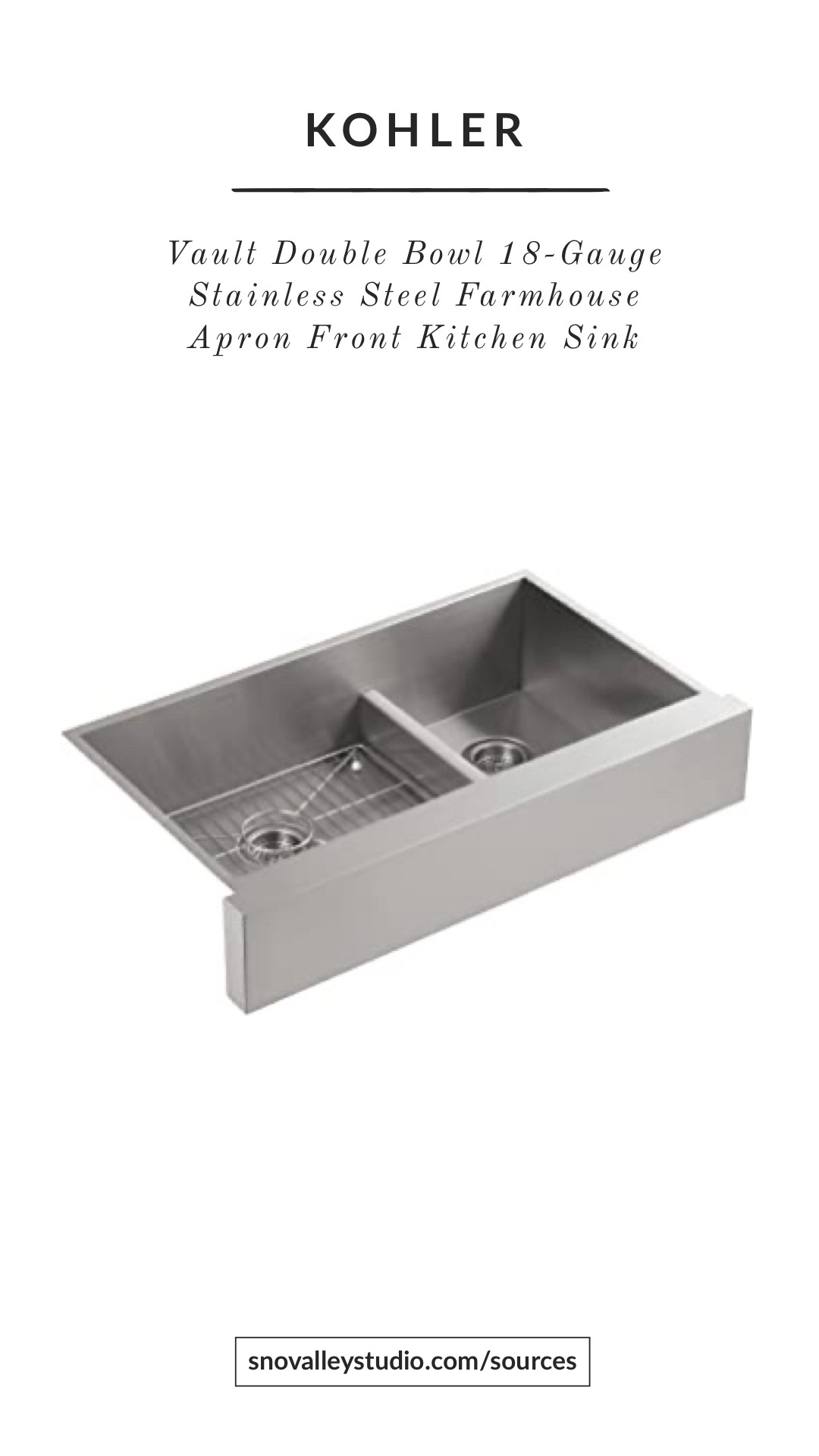 Sink: Kohler – Vault™35-1/2″ Smart Divide® undermount double-bowl